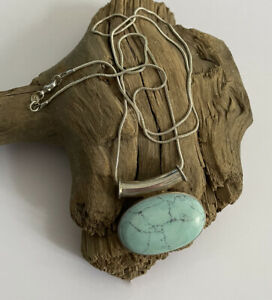 Vintage 925 Silver & Turquoise Navajo Style Pendant & 26 Inch Snake Chain 20.5g