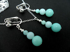 A SILVER PLATED LIGHT BLUE JADE  NECKLACE AND CLIP ON  EARRING SET. NEW.