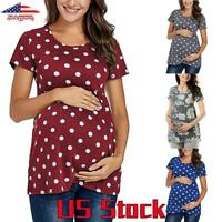Plus Size Women Maternity Top Short Sleeve Blouse Polka Dot Floral T-Shirt Tee