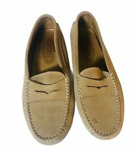 TOD'S size 39 beige suede loafer shoes tods shoe