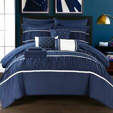 Stieg 10 Piece Comforter Bed in a Bag Sheet Set Decorative Pillows Shams Navy