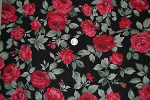 """Cotton quilting fabric 43"""" x 2.6 yards, red roses on black"""