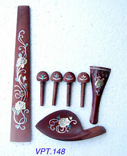A Set Rose Inlaid R0sewood Violin Parts Luthier With Chinrest-tailpiece-pegs 148