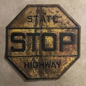 STOP state highway road sign 1926 black on yellow embossed steel