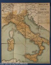 ANTICA CARTA FERROVIE ITALIANE OLD MAP TRAINS 1884