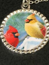 """Birds Cardinals Red & Yellow Charm Tibetan Silver with 18"""" Necklace BIN"""