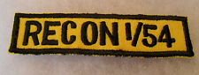 "VIETNAM ERA US ARMOR ""RECON 1/54"" 1ST OF 54TH ARMOR BLACK ON GOLD TWILL TAB"