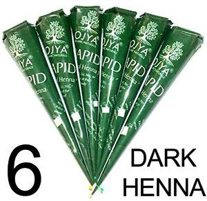6 X Dark Brown ORGANIC Henna Mehendi Cones Temporary Tattoo TOP QUALITY HERBAL