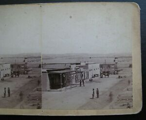 1881 Street View Albuquerque NM, North of Railroad Ave - Stereoview Card