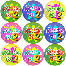 144 I Conquered Year 2 - End of Term 1st grade Teacher Reward Stickers Size 30mm