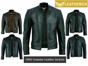 Leatherick Mens Real Leather Jacket Biker Black Brown Vintage Retro Cafe Racer