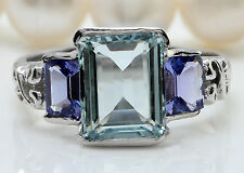 5.50CTW Natural Aquamarine and Tanzanite in 14K White Gold Women Ring