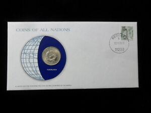 YUGOSLAVIA 5 DINARA Coins of All Nations Cover Stamp COA Franklin Mint