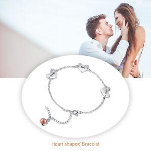 Personalise Birthstone Bracelet 3 Names Heart Chain Christmas Gift for Her Girl