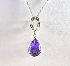 2.07 ct Genuine Purple Amethyst 925 Sterling Silver Leaf Drop Necklace