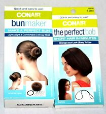 NEW Conair 2 Packs (1) Bun Maker & (1) Perfect Bob For Multiple Hair Styles