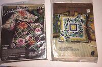 Vintage Creative Julie Stitchery Paragon Needlecraft 2 x Crewel Pillow Kits NIB