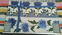 "Blue Floral  IRISH PRINTED NEW TABLECLOTH 50 "" × 50"" & NAPKINS afternoon tea"