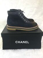 Chanel Blue Brown Suede Calfskin Lace Up Combat Boots Sz40 $1100
