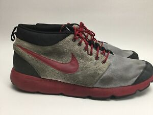 Vintage Nike Roshe Run Trail Suede Grey & Red 537741-067 Preowned Rare Men's 12