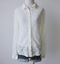 NWT LAUREN CONRAD Floral Lace Button Down Collar Long Sleeve Shirt Blouse Top M