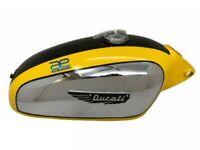 Ducati 350CC Scrambler Chrome Yellow Chrome Petrol Fuel Tank With Cap And Badges