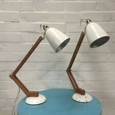 Pair of original wooden white  Maclamps 1960s Conran Habitat