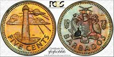 1973 BARBADOS FIVE CENTS PCGS GENUINE HIGH GRADED COLOR TONED COIN