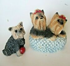Yorkshire Terrier Stone Critters Yorkie Pair in Basket and Yorkie w Red Ball Lot