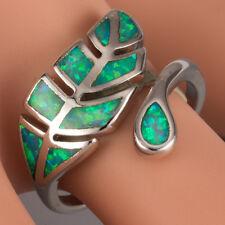 Tree Leaf Kiwi Green Fire Opal Silver Jewelry Bypass Wrap Ring US Size 7 8 9 10