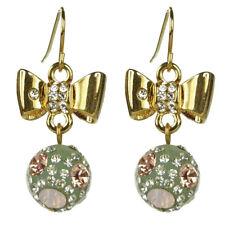 Boucles d'oreilles plaqué or cristal Swarovski noeud papillon doré boule résine