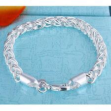 Cool 925Sterling Silver Wrested Rope Women Men Chain Bracelet 6MM 8inch YH070