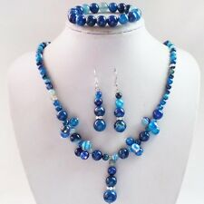 Blue Onyx Agate Round Gemstone Beads Necklace Earrings Bracelet Set R5618