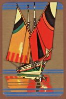 Playing Cards Single Card Old Vintage Art Deco Named FELUCCA Sailing Yacht Boat