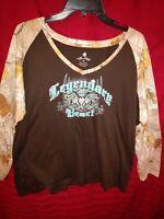 Legendary Women's sz XXL Cotton Whitetails Graphic V-Neck T-Shirt Top
