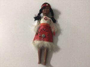"Vintage Plastic Native American Indian Doll Blue Eyes Beaded Dress Headband 8.5"""