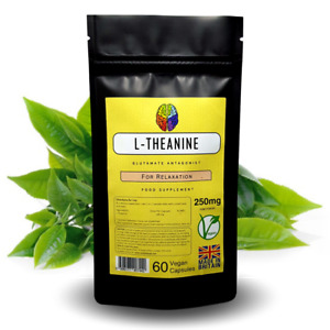 L-Theanine Capsules 250mg Supplement from Green Tea Extract for Relaxation