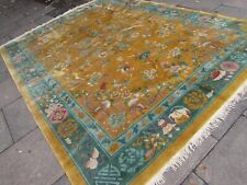 Antique Hand Made Art Deco Chinese Oriental Gold Green Wool Carpet 355x270cm