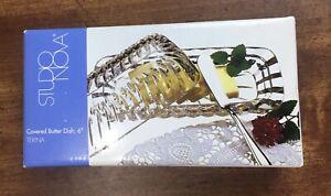 """Studio Nova Terina Glass Butter Dish w/cover.  6"""" New In Box."""
