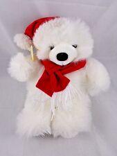 "Ganz Bros Christmas Bear Plush 10"" White Santa Hat Scarf Heritage Collection"