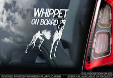 Whippet - Car Window Sticker - Greyhound Snap Dog on Board Sign Art Gift - TYP1