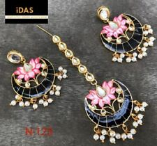 Indian Kundan Jewelry Gold Plated Meena Kundan Earrings Tikka set Ethnic TJ2