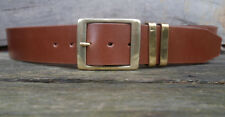 Men's Shiny Brown Leather Jeans Belt, 2 inch wide buffalo leather