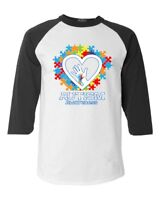 Autism Awareness Heart Hand Puzzle Raglan Baseball Support Love Kind Shirts