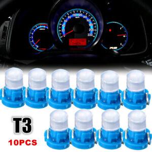 10pcs T3 Wedge LED Bulb Instrument Dash Dashboard Gauge Base Lamp Light Blue