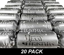 20 x Christmas Crackers Bon Bons 30cm Silver with Snap, Toy & Hat