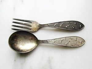 Late 1800s German 800 Silver Baby Spoon & Fork Set Animals Luffnl C3048