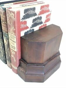 Beautiful Antique Solid Mahogany Library Bookends Heavy W K Cowan? Architectural