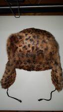 Michael Kors 100% RABBIT FUR AVIATOR/TRAPPER HAT, Leopard Print, worn on runway