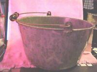 "Large 11 X 7"" Graniteware Pot With Bail Handle Gray Enamelware Kettle Wash Tub"